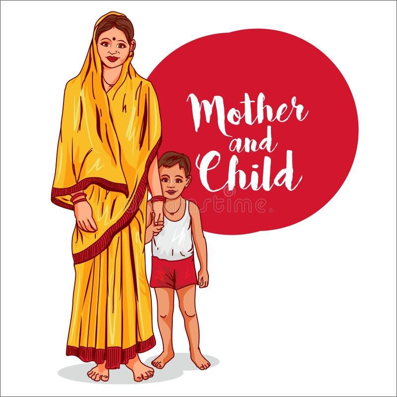 Biedna indyjska kobieta z dziecko wektoru ilustracją royalty ilustracja