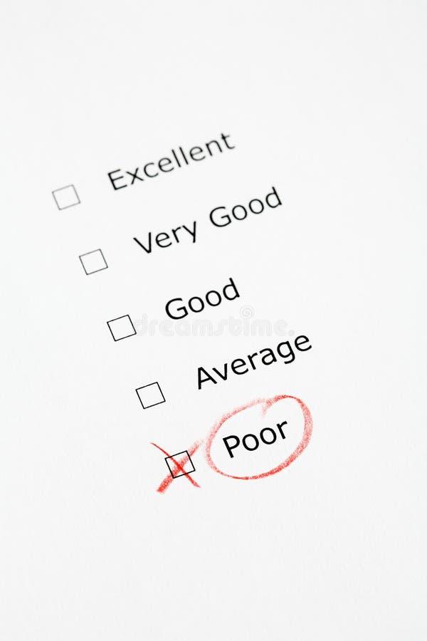 biedna ratingowa sprawdzić skali zdjęcie stock