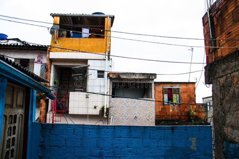 Biedni domy szanty miasteczko w Brazylia od tarasu zdjęcia royalty free