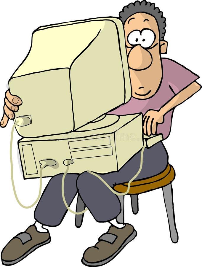 biedny człowiek laptopa komputerowa s royalty ilustracja