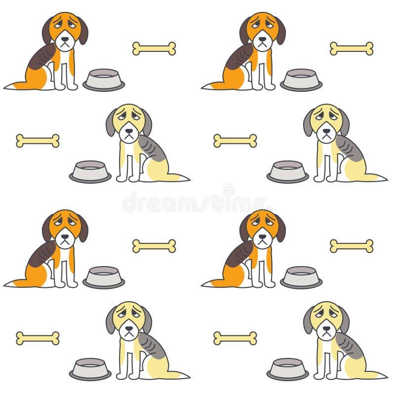 Biednych nieszczęśliwych głodnych psów bezszwowy wzór ilustracja wektor