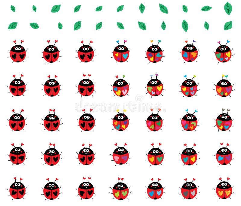 Biedronka kolorowy dziwny set ilustracja wektor