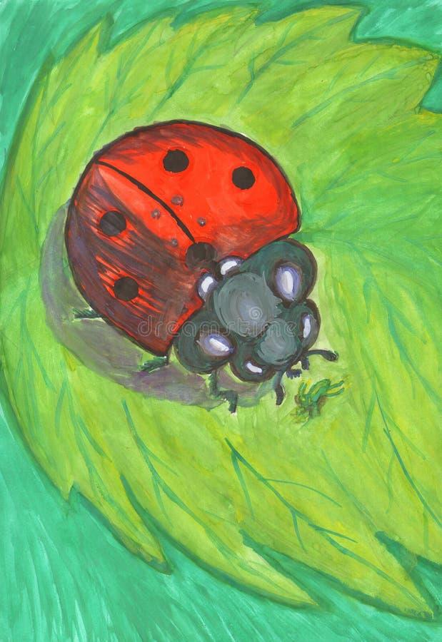 Biedronka na zielonym liściu tropi korówki ilustracji