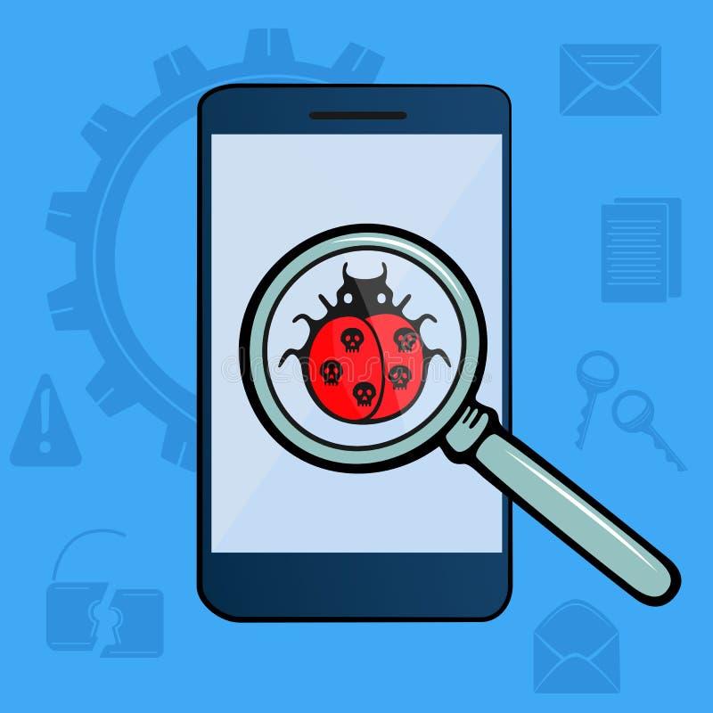 Biedronka z czaszkami pod powiększać - szkło wykrywający wirus szturmowa pluskwy hackera klawiatura machinalna Telefon komórkowy  royalty ilustracja