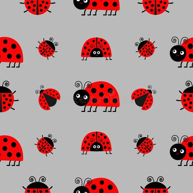 Biedronki Ladybird ikony set Dziecko kolekcja śmieszny insekt Bezszwowy Deseniowy Opakunkowy papier, tekstylny szablon Szary tło  ilustracji