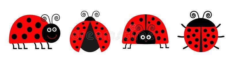 Biedronki Ladybird ikony setu linia ?mieszny insekt ?licznego kresk?wki kawaii ?mieszny charakter P?aski projekt Bia?y t?o odosob ilustracja wektor