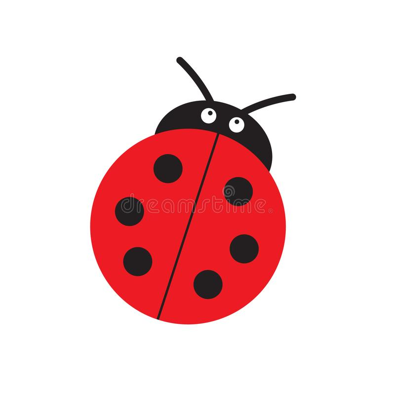 Biedronki lub ladybird wektorowej grafiki ilustracja, odizolowywająca Śliczny prosty płaski projekt czarna i czerwona damy ściga royalty ilustracja