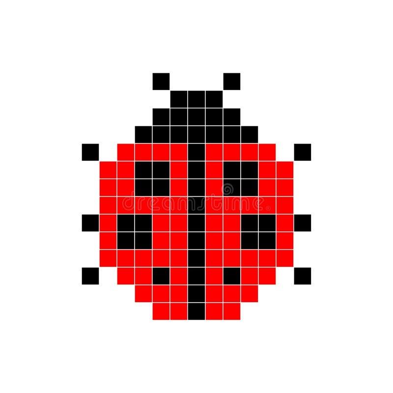 Biedronki, piksel sztuka, wektorowa ilustracja Retro gra styl ilustracji