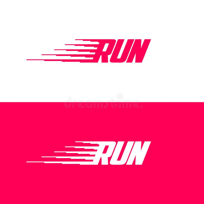 Bieg logo Dynamiczna sport ikona Listy i ruchu symbol Emblemat dla sporta gatunku ilustracja wektor