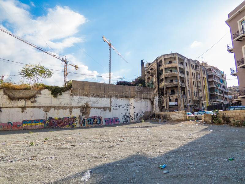 Bieg puszka budynki w Bejrut, Liban zdjęcia royalty free