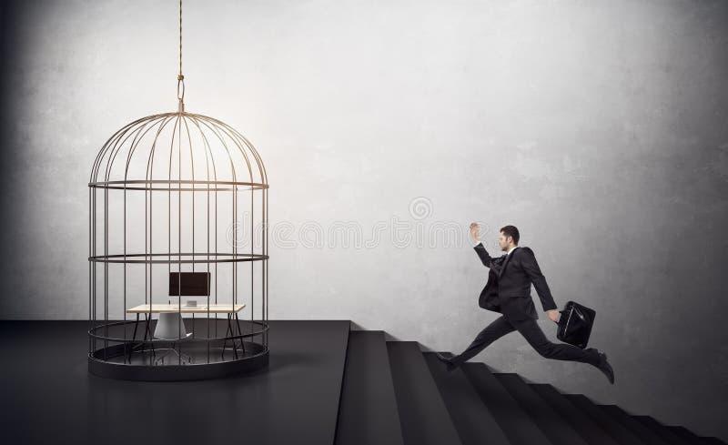 Biegać birdcage biznesmen fotografia royalty free