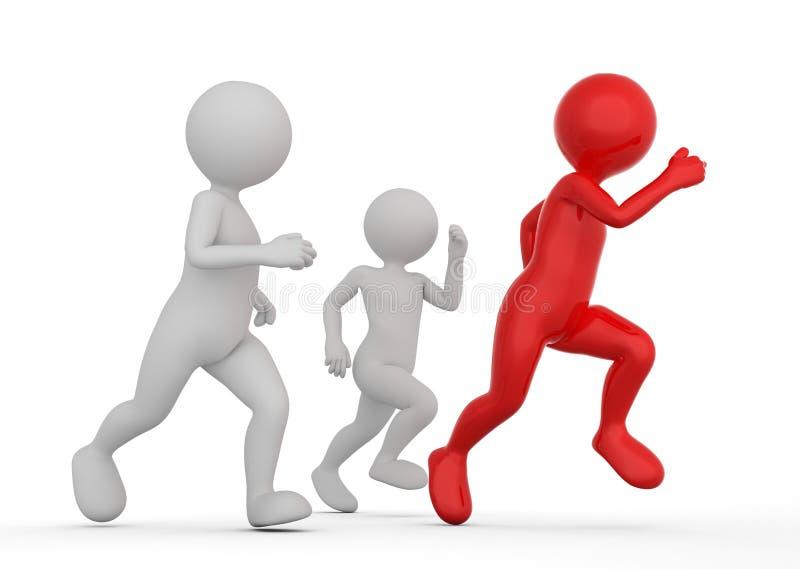 Biegać być wygraną i pierwszy Toon mężczyzna współzawodniczą, konceptualny ilustracja wektor