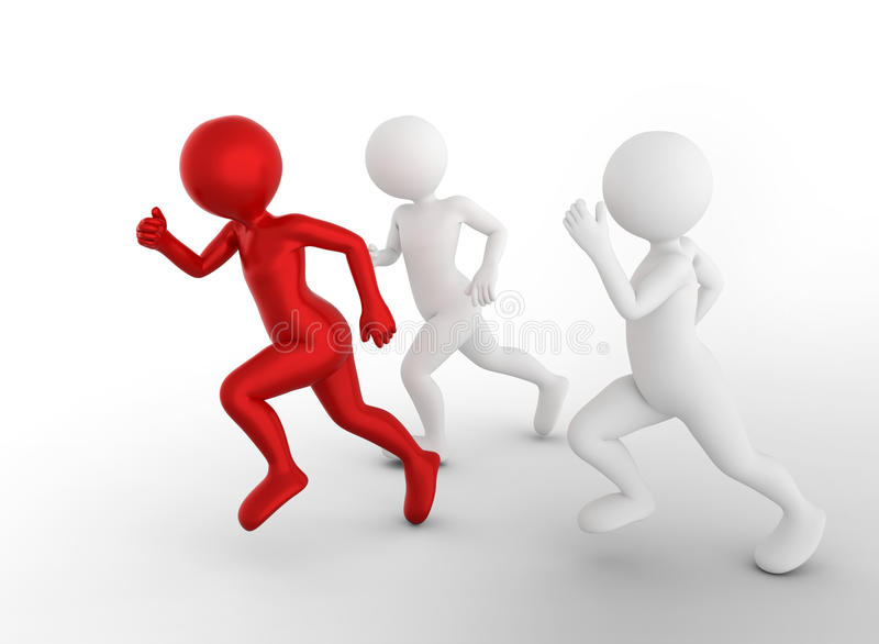 Biegać być wygraną i pierwszy Toon mężczyzna współzawodniczą, konceptualny ilustracji