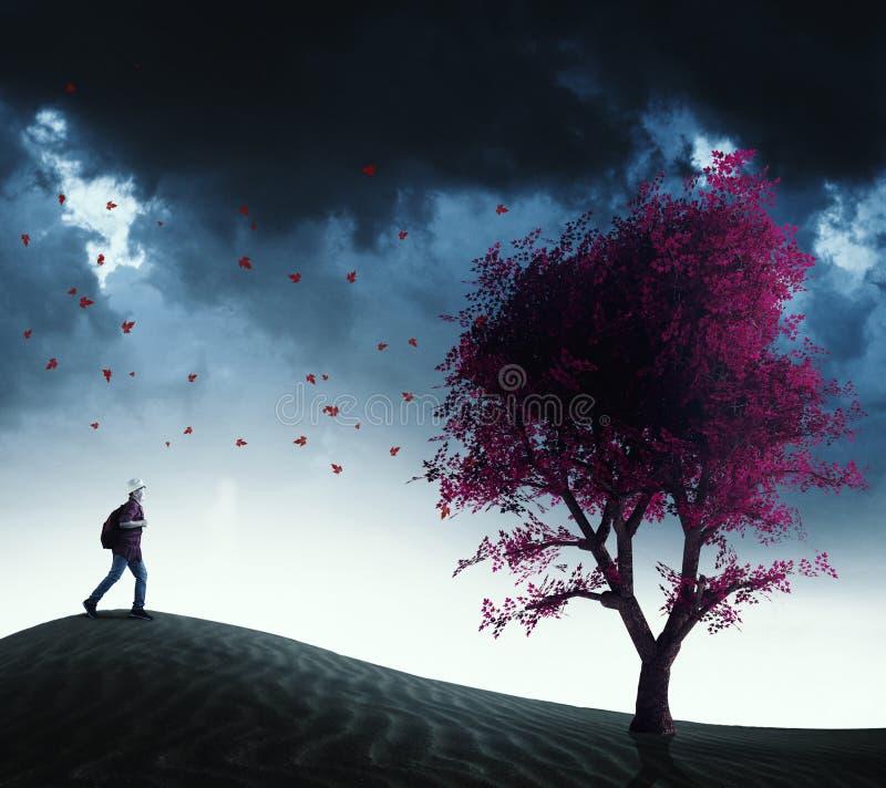 Biegać czerwony drzewo royalty ilustracja