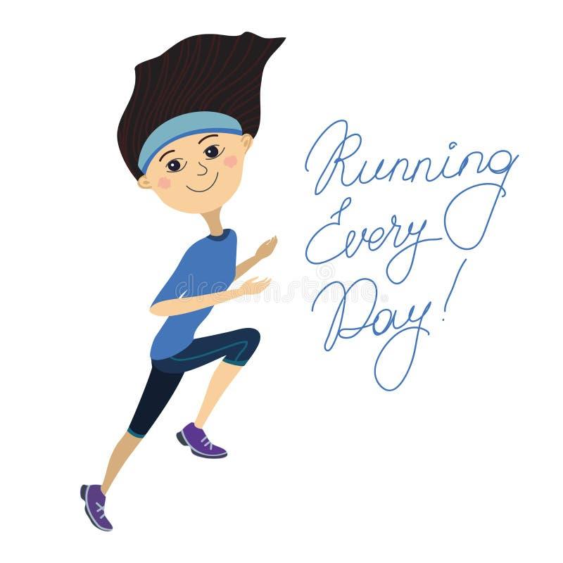 Download Biegać Każdy Dzień, Dziewczyna Ilustracja Wektor - Ilustracja złożonej z gimnastyki, literowanie: 53786882