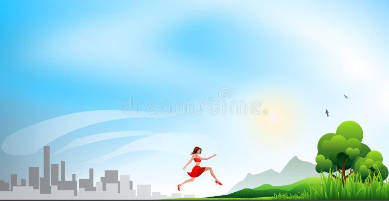 Biegać od miasta natura ilustracji