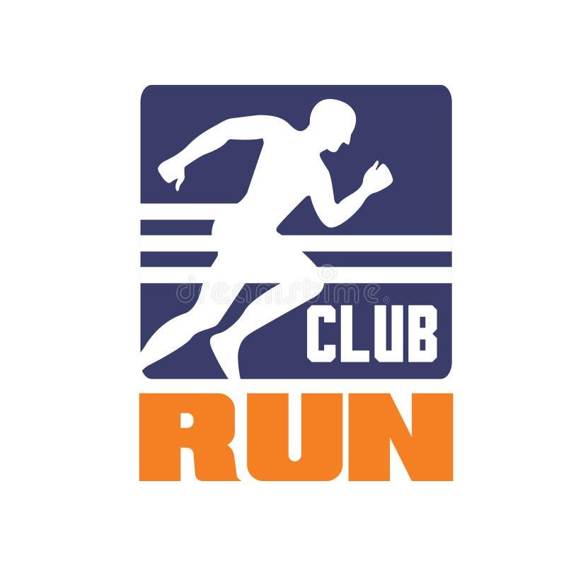 Biega świetlicowego loga szablon, emblemat z bieg mężczyzna sylwetką, etykietka dla klubu sportowego, sporta turniej, rywalizacja ilustracja wektor