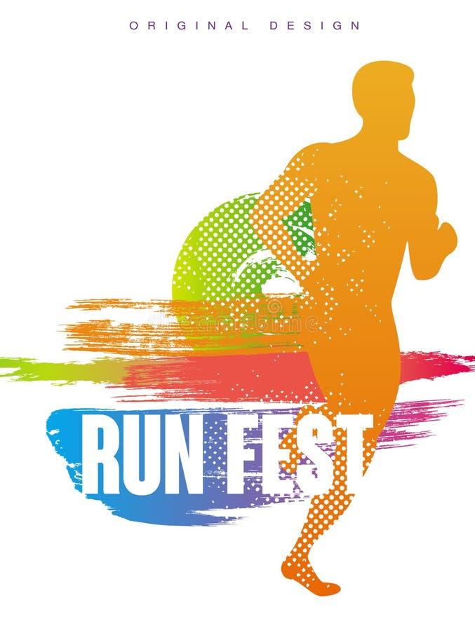 Biega fest oryginalnego gesign, może używać dla karty, kolorowy plakatowy szablon dla wydarzenia sportowego, maraton, mistrzostwo royalty ilustracja