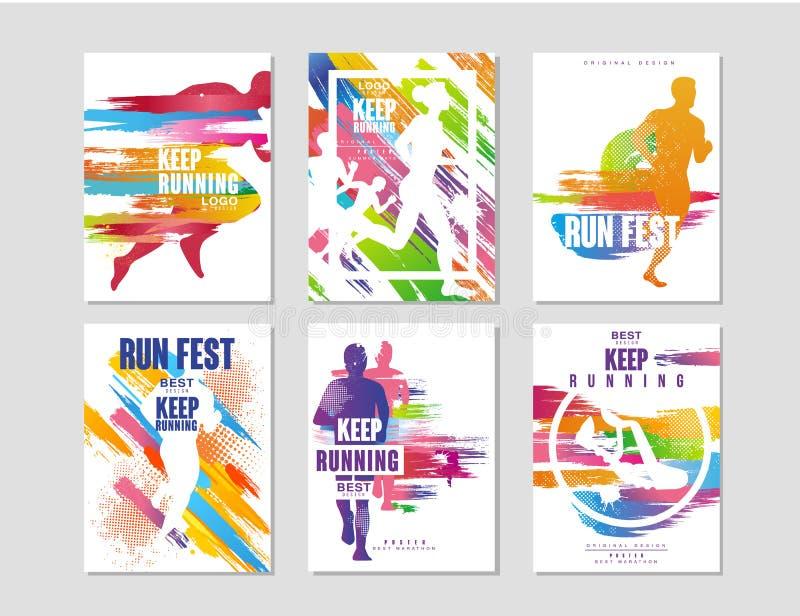 Biega fest plakaty ustawiających, sporty i rywalizacja, pojęcie, działający maraton, kolorowy projekta element dla karty, sztanda royalty ilustracja