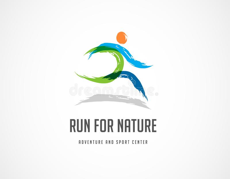 Biega ikonę, symbol, maratonu plakat i loga, ilustracja wektor