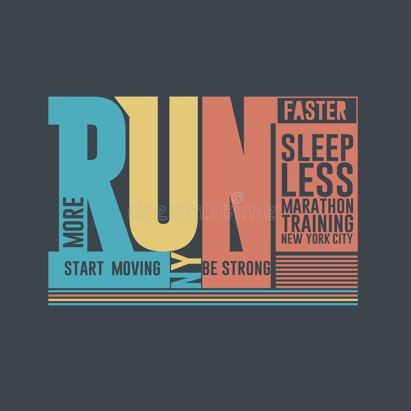 Biega Maratońską typografię, koszulek grafika, sport mody druk, Nowy Jork wektor ilustracji
