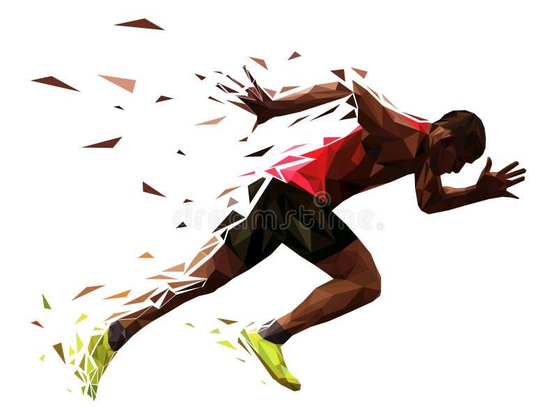 Biegacz atlety sprintu początek ilustracja wektor