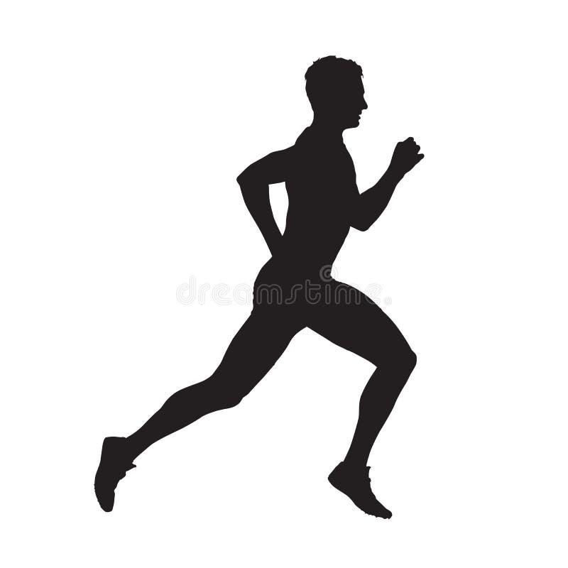 Biegacz odosobniona wektorowa sylwetka ilustracja wektor
