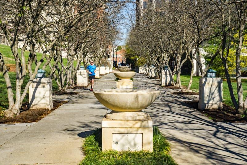 Biegacz przy fontanna rzędem przy Elmwood parkiem, Roanoke, Virginia, usa - 3 obraz royalty free