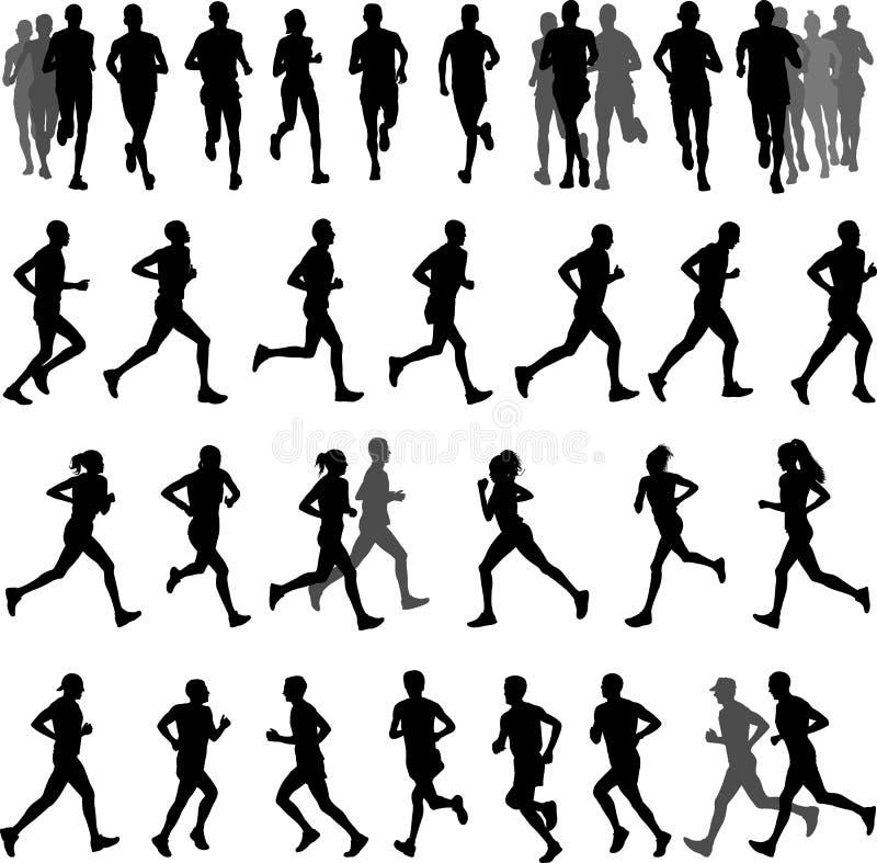 Biegacz sylwetki inkasowe ilustracja wektor