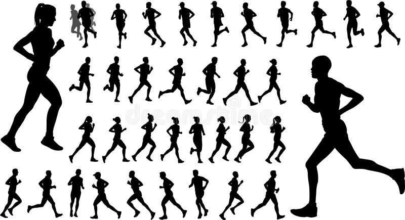 Biegacz sylwetki inkasowe ilustracji