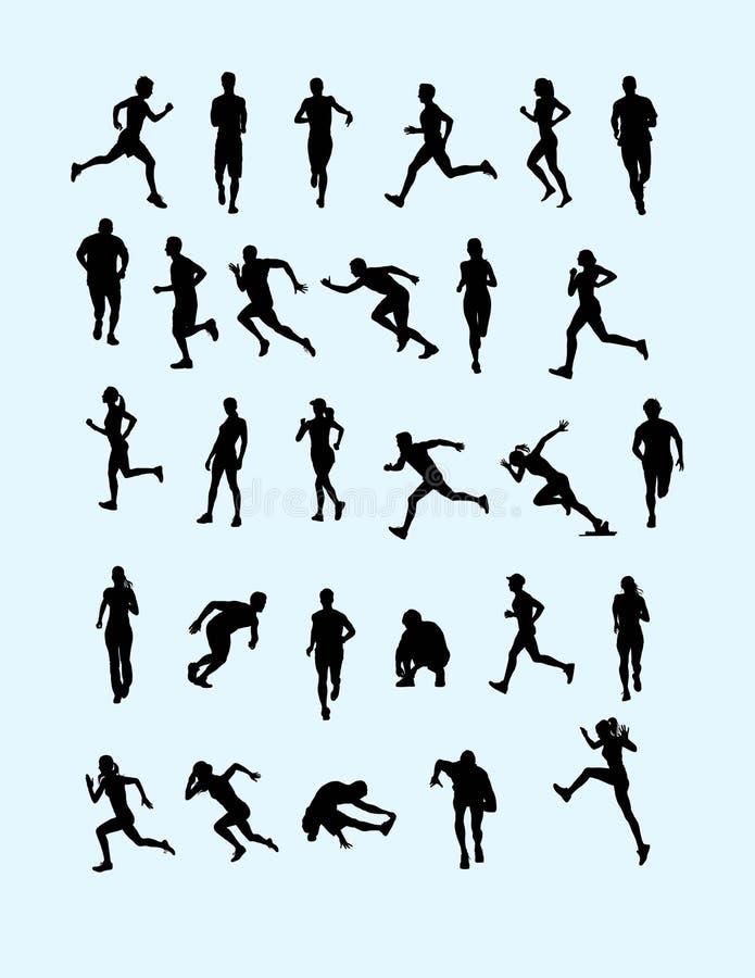 Biegacz sylwetki kolekcja ilustracja wektor