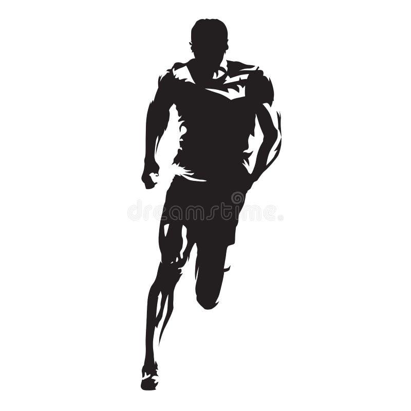 Biegacz wektorowa sylwetka, biec sprintem atlety ilustracji