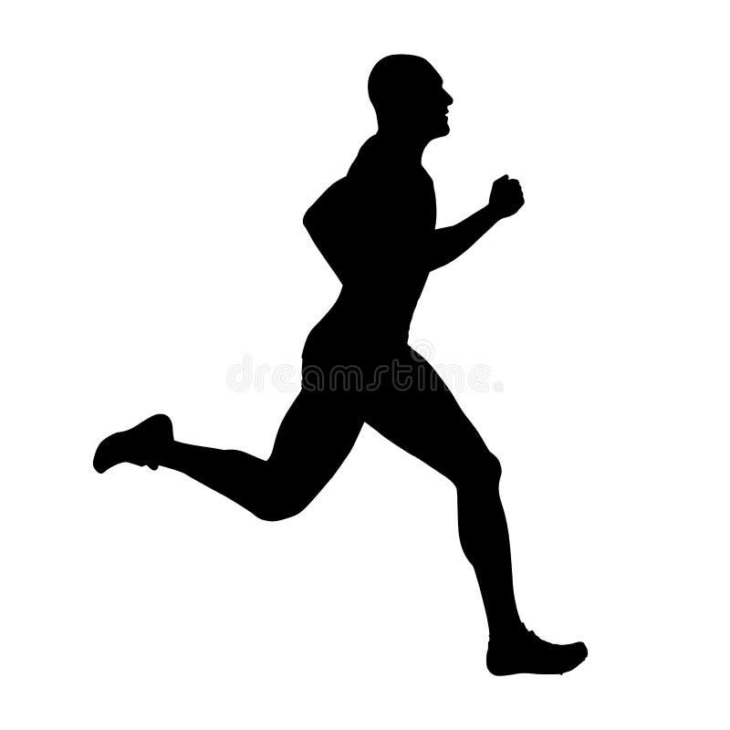 Biegacz wektorowa sylwetka, boczny widok _ ilustracji