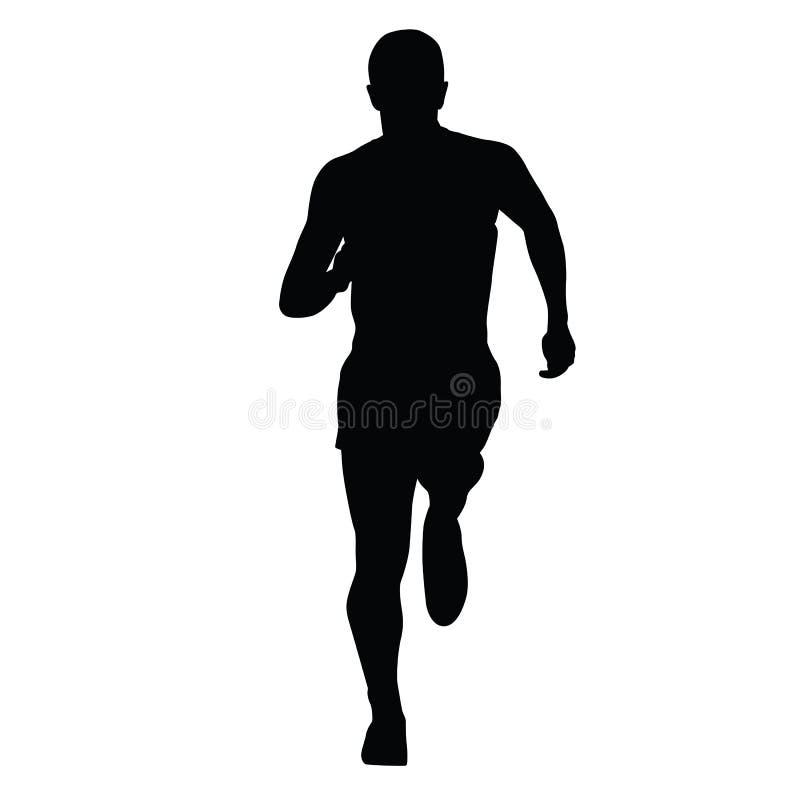 Biegacz wektorowa sylwetka, odosobniony bieg mężczyzna royalty ilustracja