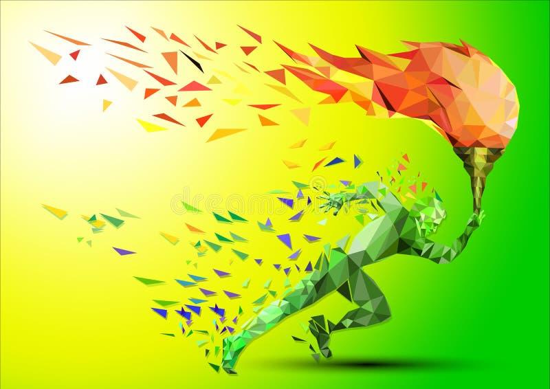 Biegacz z olimpijskim płomieniem ilustracji
