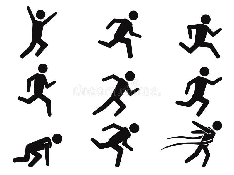 Biegacza kija postaci ikony ustawiać ilustracji