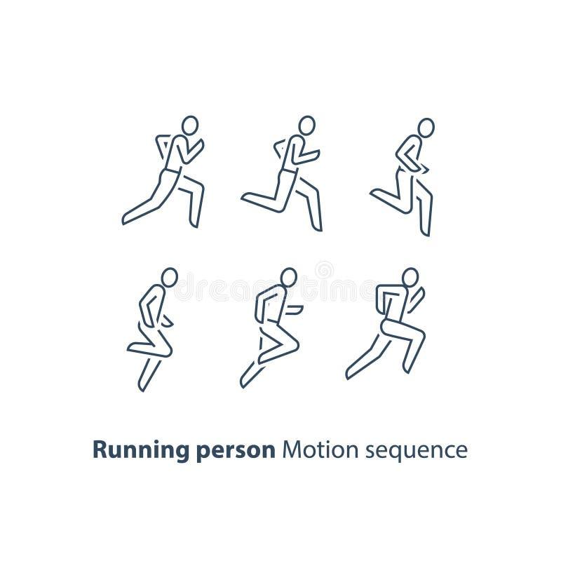 Biegacza logo, działająca osoby linii ikona, pojęcie, ruch sekwenci setu, maratonu i triathlon, royalty ilustracja