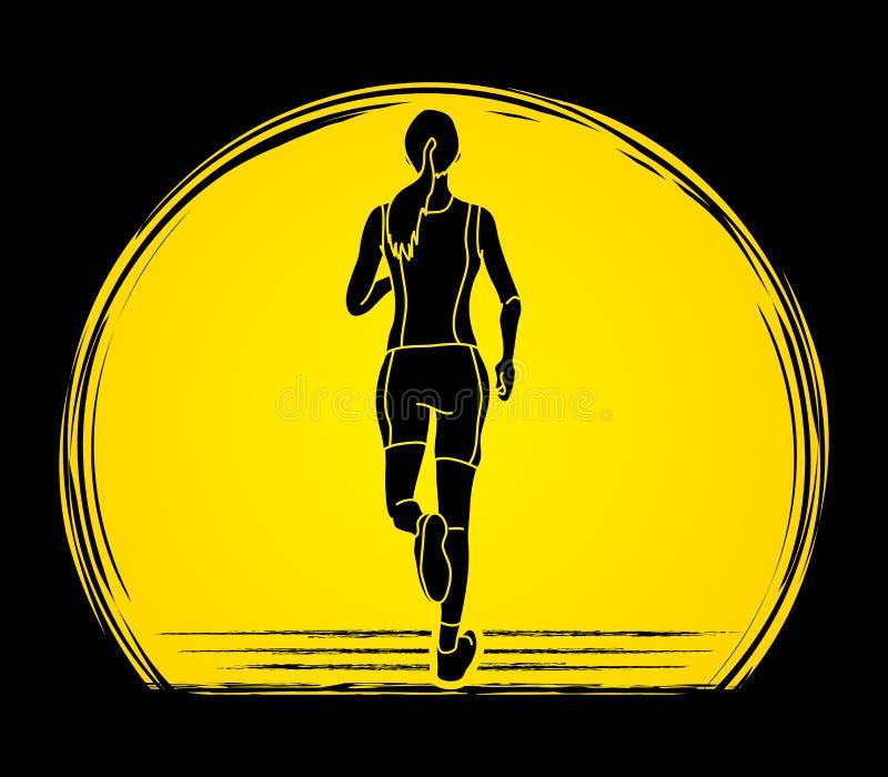 Biegacze biec sprintem, Maratoński działający graficzny wektor royalty ilustracja