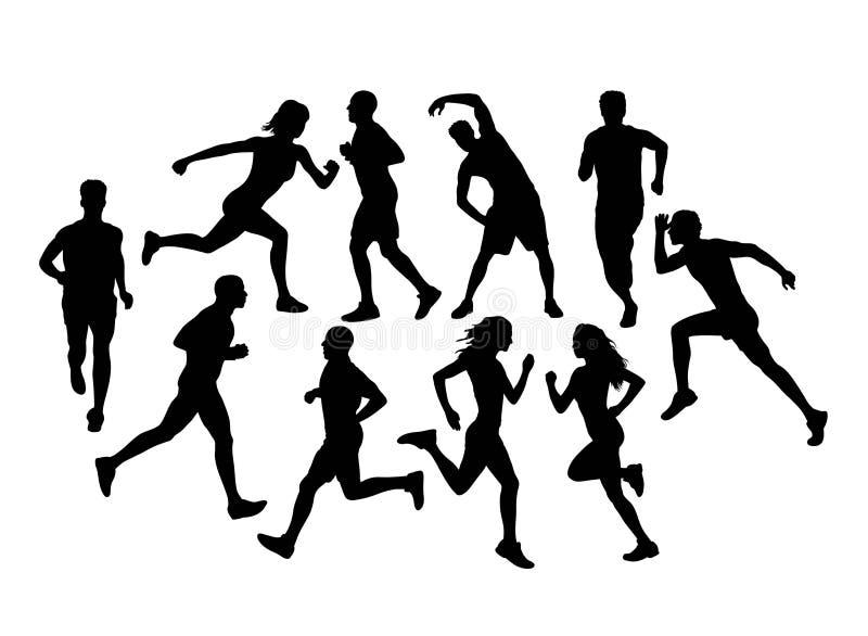 Biegacze Biega sylwetki, sztuka wektorowy projekt ilustracji