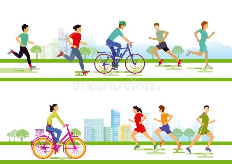 Biegacze i cykliści royalty ilustracja
