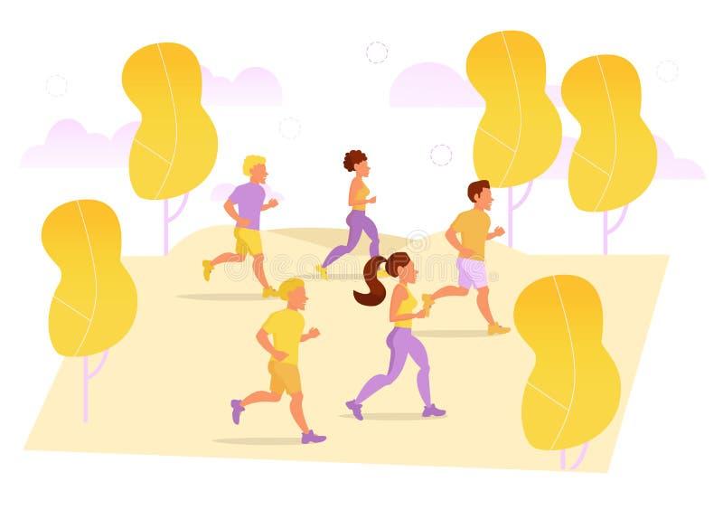 Biegacze w parku wektor royalty ilustracja