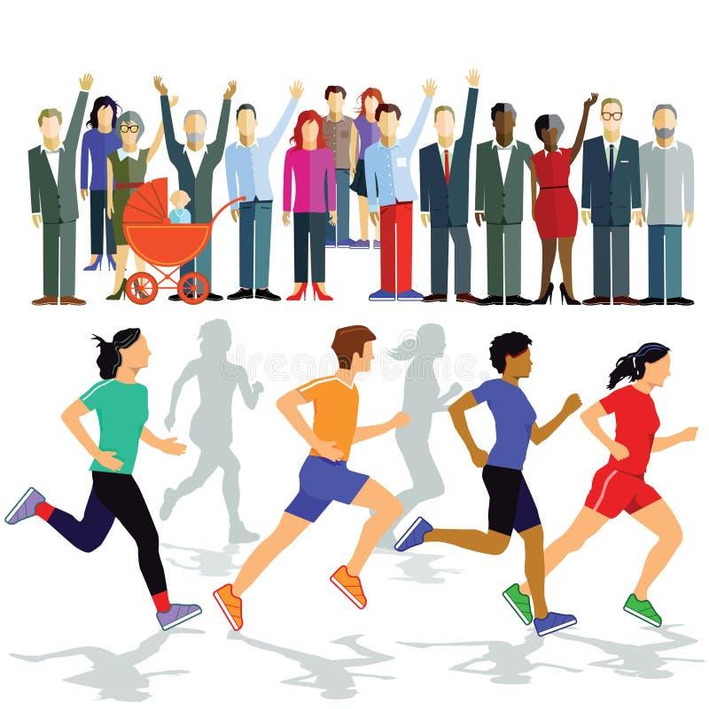 Biegacze w rasie ilustracja wektor