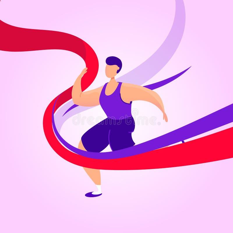 Biegający człowiek z czerwoną wstążką prowadzi maraton Zwycięstwo na końcu Koncepcja przywództwa ilustracji