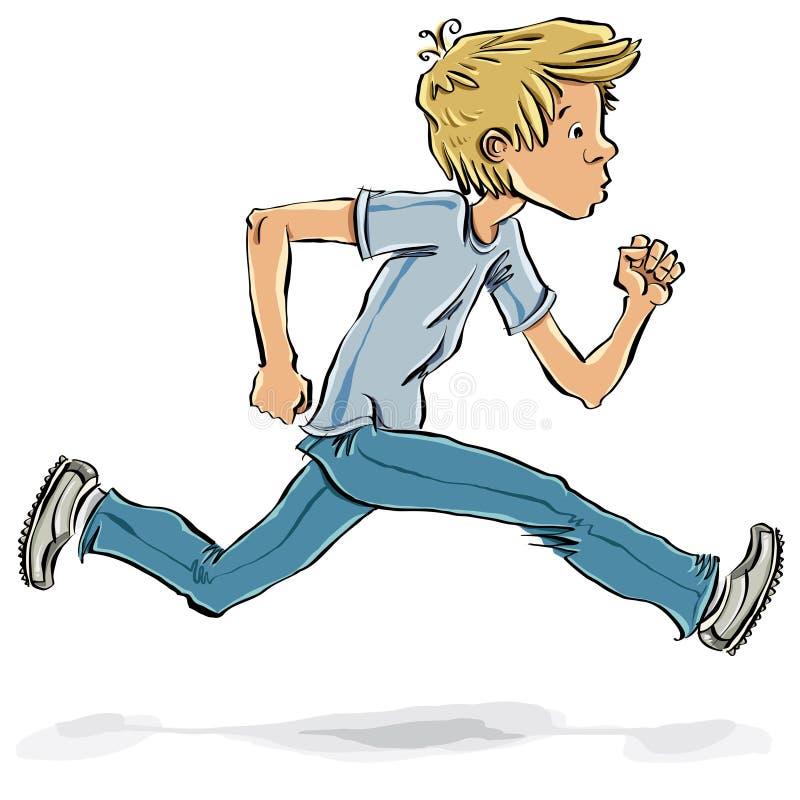 Biegający nastoletniej chłopiec i śpieszący. ilustracji