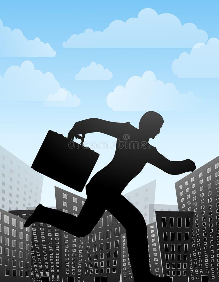 biegnij miasta biznesmena ilustracji