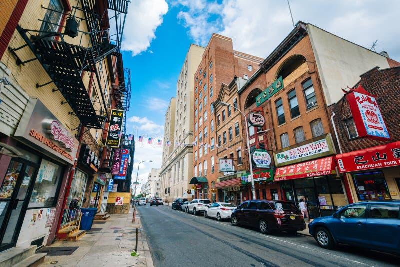 Biegowa ulica w Chinatown, Filadelfia, Pennsylwania zdjęcie stock