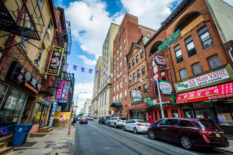 Biegowa ulica w Chinatown, Filadelfia, Pennsylwania zdjęcie royalty free