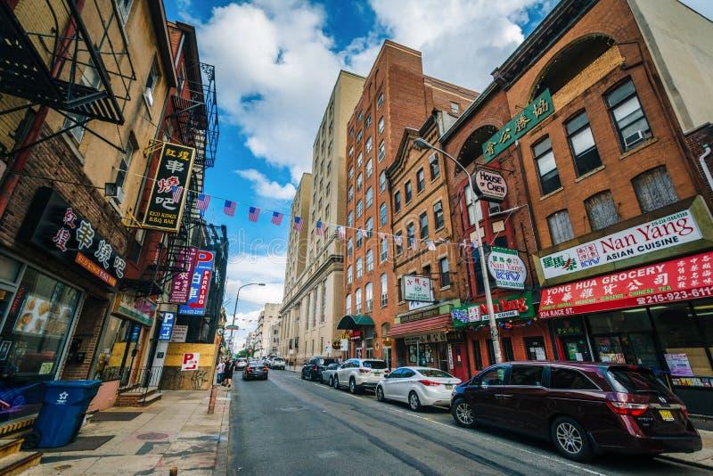 Biegowa ulica w Chinatown, Filadelfia, Pennsylwania zdjęcia royalty free