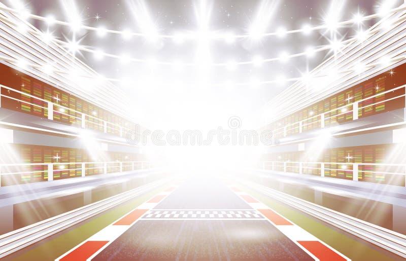 Biegowego śladu arena z światłami reflektorów i metą ilustracji