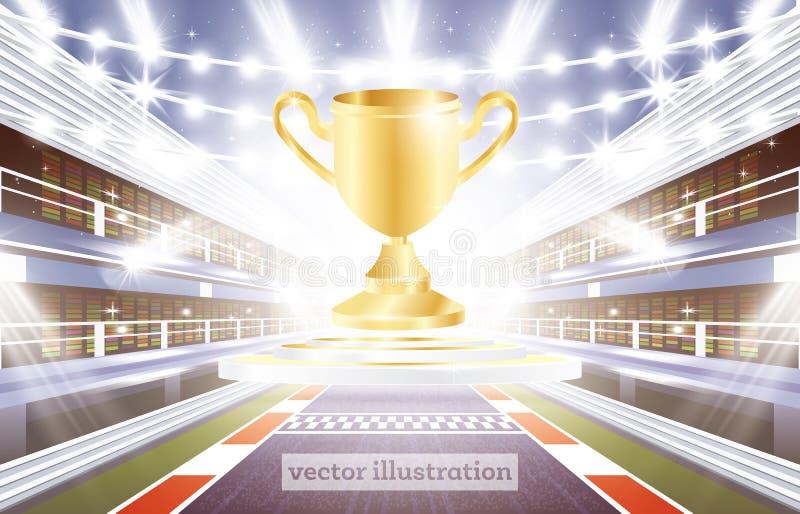 Biegowego śladu arena z światłami reflektorów, metą i Złotą filiżanką, ilustracji